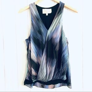 Rory Beca Sleeveless Faux Wrap Silk Blouse